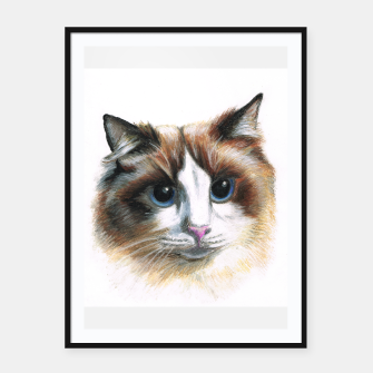 Miniatur fluffy cat framed poster, Live Heroes