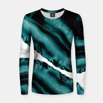 Dark Turquoise Agate #1 #gem #decor #art Frauen sweatshirt obraz miniatury