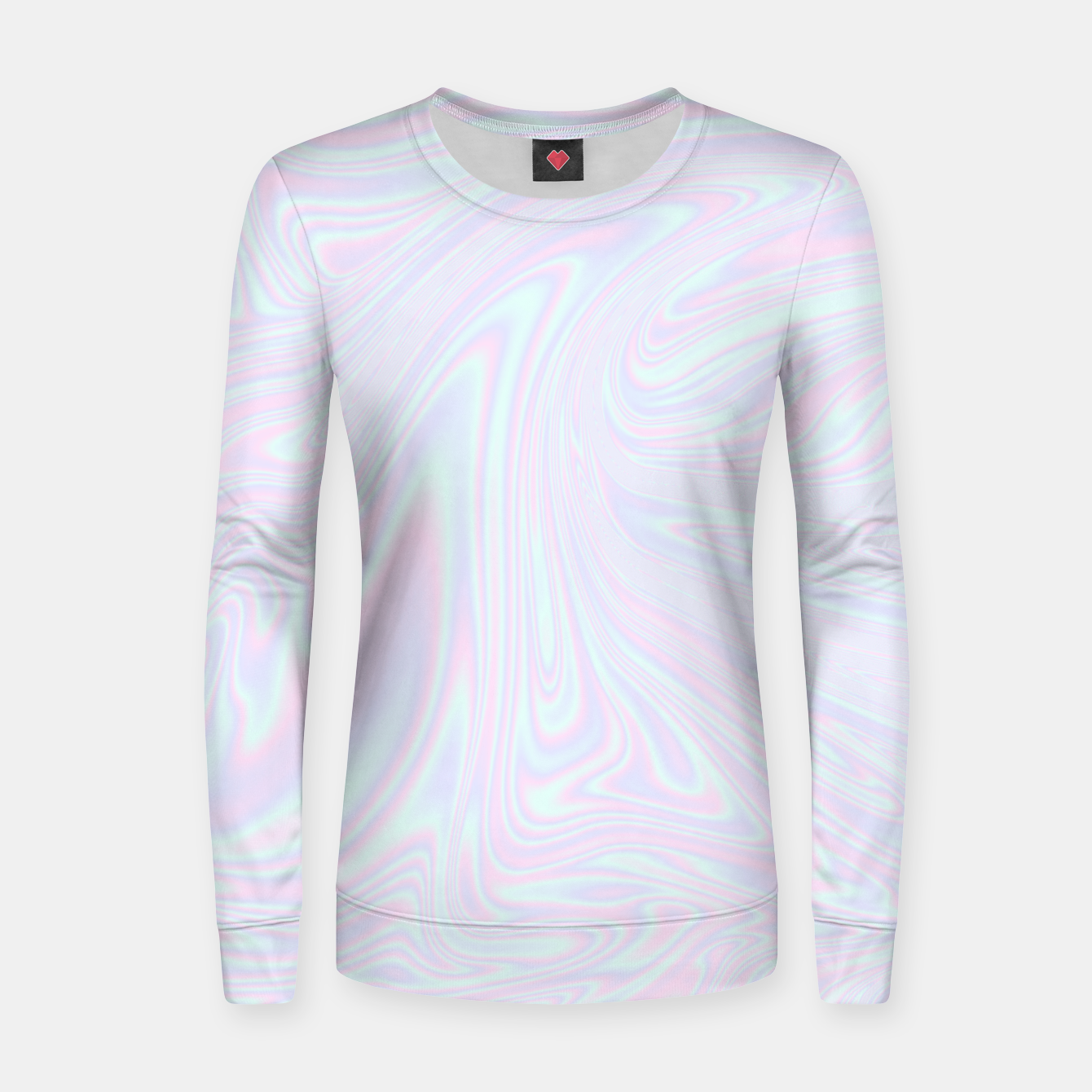Image of Faux holographic effect texture blue Women sweater - Live Heroes