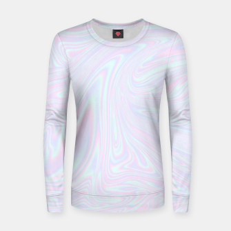 Thumbnail image of Faux holographic effect texture blue Women sweater, Live Heroes