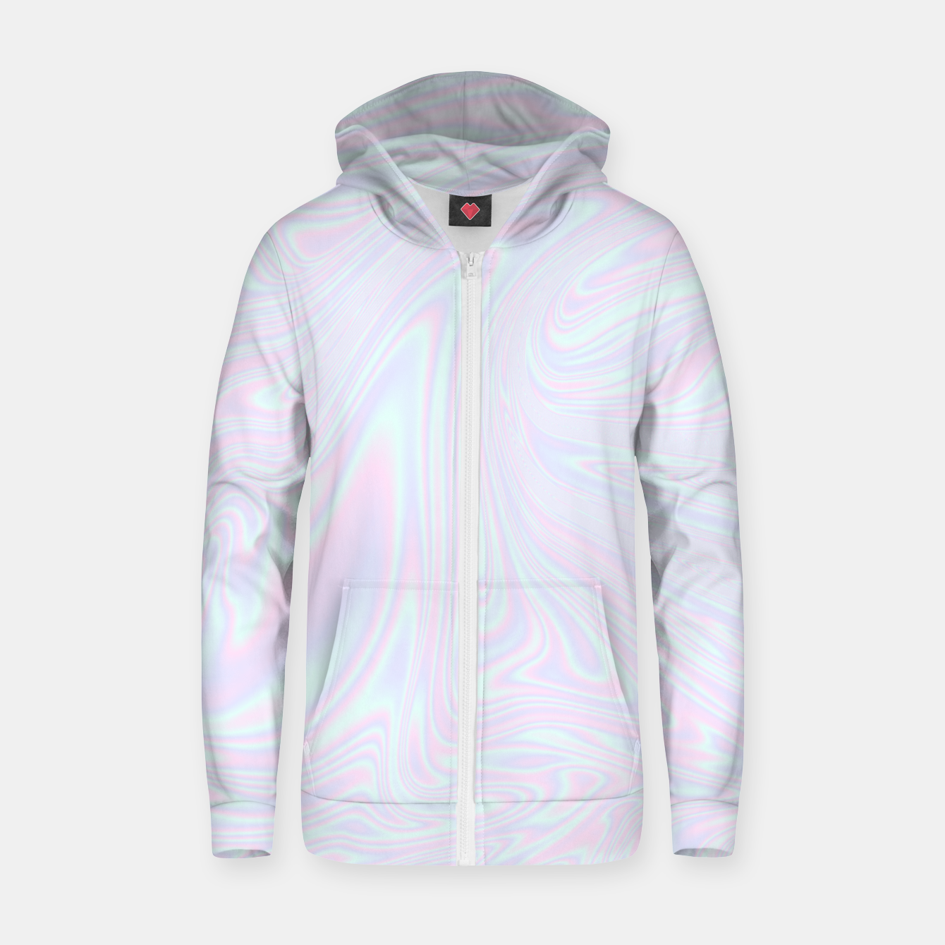 Image of Faux holographic effect texture blue Zip up hoodie - Live Heroes
