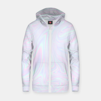 Thumbnail image of Faux holographic effect texture blue Zip up hoodie, Live Heroes