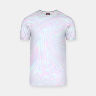 Thumbnail image of Faux holographic effect texture blue T-shirt, Live Heroes