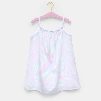Faux holographic effect texture blue Girl's dress thumbnail image
