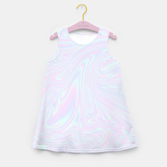 Thumbnail image of Faux holographic effect texture blue Girl's summer dress, Live Heroes