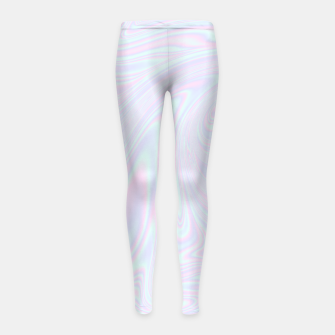 Thumbnail image of Faux holographic effect texture blue Girl's leggings, Live Heroes