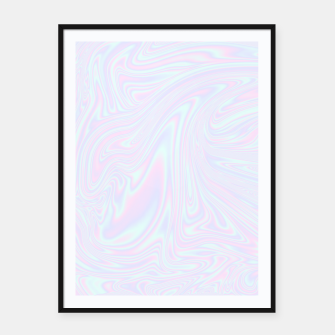 Thumbnail image of Faux holographic effect texture blue Framed poster, Live Heroes