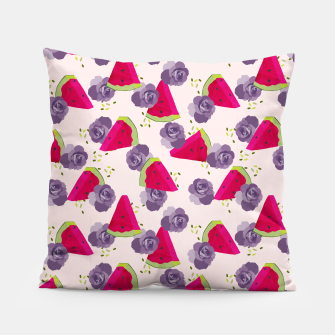 Miniatur Roses and Watermelons Pillow, Live Heroes