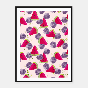 Miniatur Roses and Watermelons Framed poster, Live Heroes