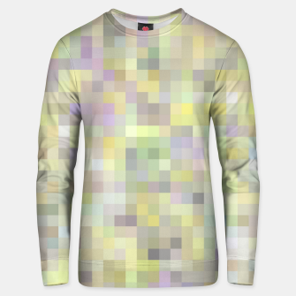 geometric square pixel pattern abstract background in yellow and pink Unisex sweater Bild der Miniatur