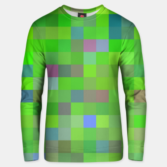 geometric square pixel pattern abstract background in green blue pink Unisex sweater thumbnail image