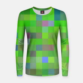 geometric square pixel pattern abstract background in green blue pink Women sweater thumbnail image