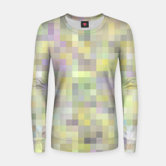 geometric square pixel pattern abstract background in yellow and pink Women sweater Bild der Miniatur