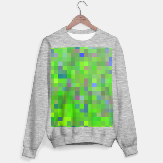 geometric square pixel pattern abstract background in green blue pink Sweater regular thumbnail image