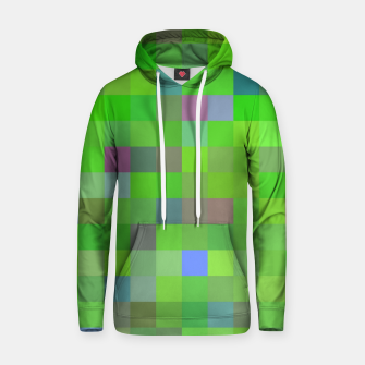 geometric square pixel pattern abstract background in green blue pink Hoodie thumbnail image