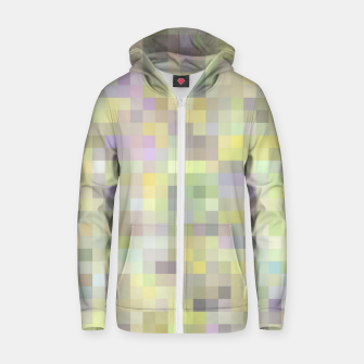 geometric square pixel pattern abstract background in yellow and pink Zip up hoodie Bild der Miniatur
