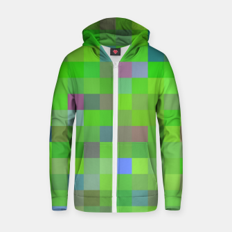 geometric square pixel pattern abstract background in green blue pink Zip up hoodie thumbnail image