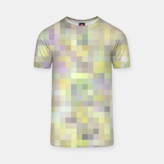 geometric square pixel pattern abstract background in yellow and pink T-shirt Bild der Miniatur
