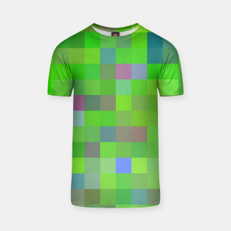 geometric square pixel pattern abstract background in green blue pink T-shirt thumbnail image