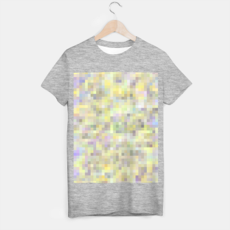 geometric square pixel pattern abstract background in yellow and pink T-shirt regular Bild der Miniatur