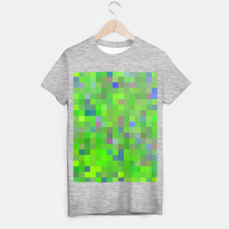 geometric square pixel pattern abstract background in green blue pink T-shirt regular thumbnail image