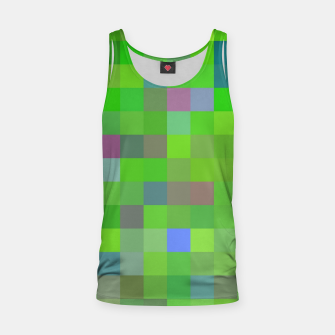 geometric square pixel pattern abstract background in green blue pink Tank Top thumbnail image