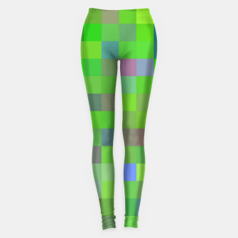 geometric square pixel pattern abstract background in green blue pink Leggings thumbnail image