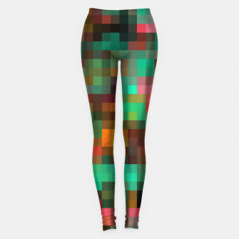Miniatur geometric square pixel pattern abstract background in green yellow pink Leggings, Live Heroes