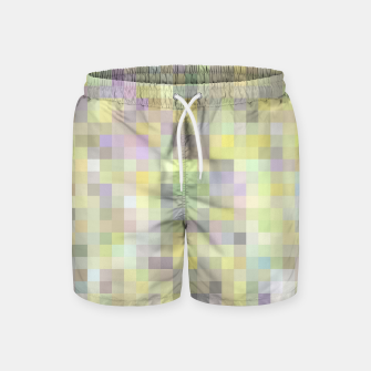 Miniatur geometric square pixel pattern abstract background in yellow and pink Swim Shorts, Live Heroes