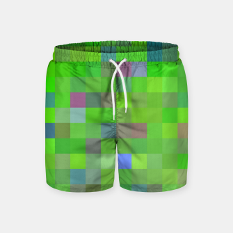 geometric square pixel pattern abstract background in green blue pink Swim Shorts thumbnail image