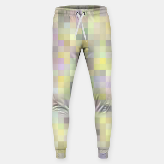 Miniatur geometric square pixel pattern abstract background in yellow and pink Sweatpants, Live Heroes