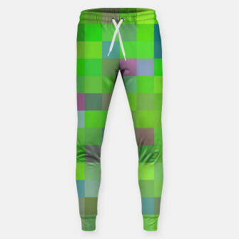 geometric square pixel pattern abstract background in green blue pink Sweatpants thumbnail image