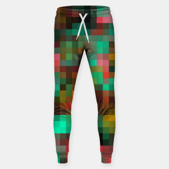 Miniatur geometric square pixel pattern abstract background in green yellow pink Sweatpants, Live Heroes