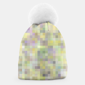 geometric square pixel pattern abstract background in yellow and pink Beanie Bild der Miniatur