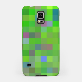 geometric square pixel pattern abstract background in green blue pink Samsung Case thumbnail image