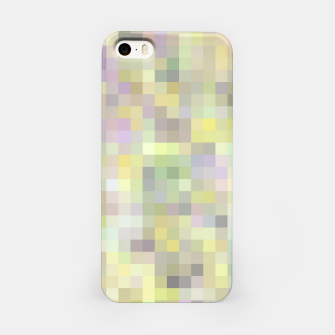 geometric square pixel pattern abstract background in yellow and pink iPhone Case Bild der Miniatur