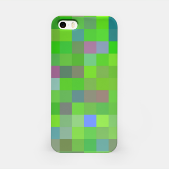 Miniatur geometric square pixel pattern abstract background in green blue pink iPhone Case, Live Heroes
