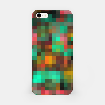 Miniatur geometric square pixel pattern abstract background in green yellow pink iPhone Case, Live Heroes