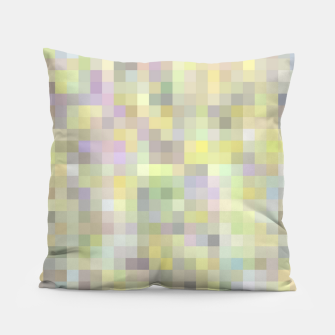 Miniatur geometric square pixel pattern abstract background in yellow and pink Pillow, Live Heroes