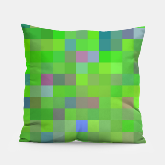geometric square pixel pattern abstract background in green blue pink Pillow thumbnail image