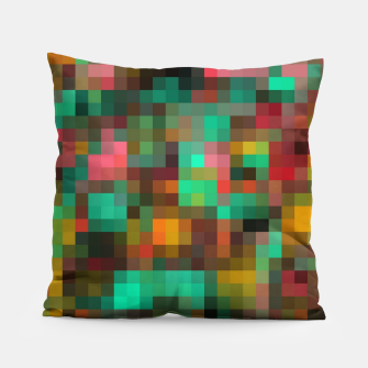 geometric square pixel pattern abstract background in green yellow pink Pillow Bild der Miniatur