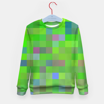 Miniatur geometric square pixel pattern abstract background in green blue pink Kid's sweater, Live Heroes