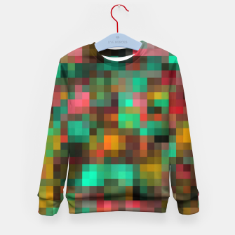 Miniatur geometric square pixel pattern abstract background in green yellow pink Kid's sweater, Live Heroes