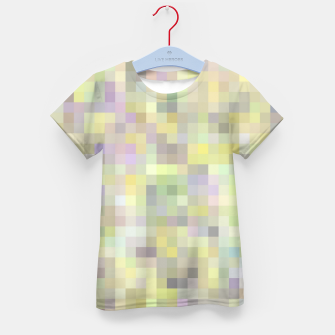 Miniatur geometric square pixel pattern abstract background in yellow and pink Kid's t-shirt, Live Heroes
