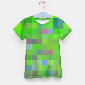 geometric square pixel pattern abstract background in green blue pink Kid's t-shirt thumbnail image