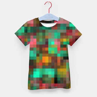 Miniatur geometric square pixel pattern abstract background in green yellow pink Kid's t-shirt, Live Heroes