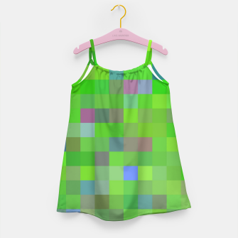 geometric square pixel pattern abstract background in green blue pink Girl's dress thumbnail image