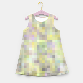 Miniatur geometric square pixel pattern abstract background in yellow and pink Girl's summer dress, Live Heroes