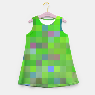 geometric square pixel pattern abstract background in green blue pink Girl's summer dress thumbnail image