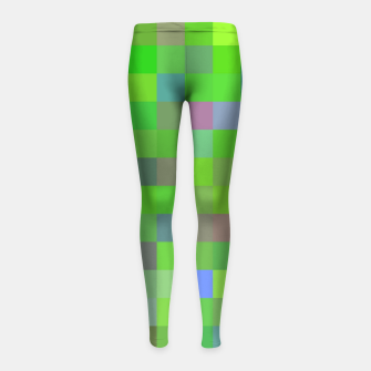 geometric square pixel pattern abstract background in green blue pink Girl's leggings thumbnail image